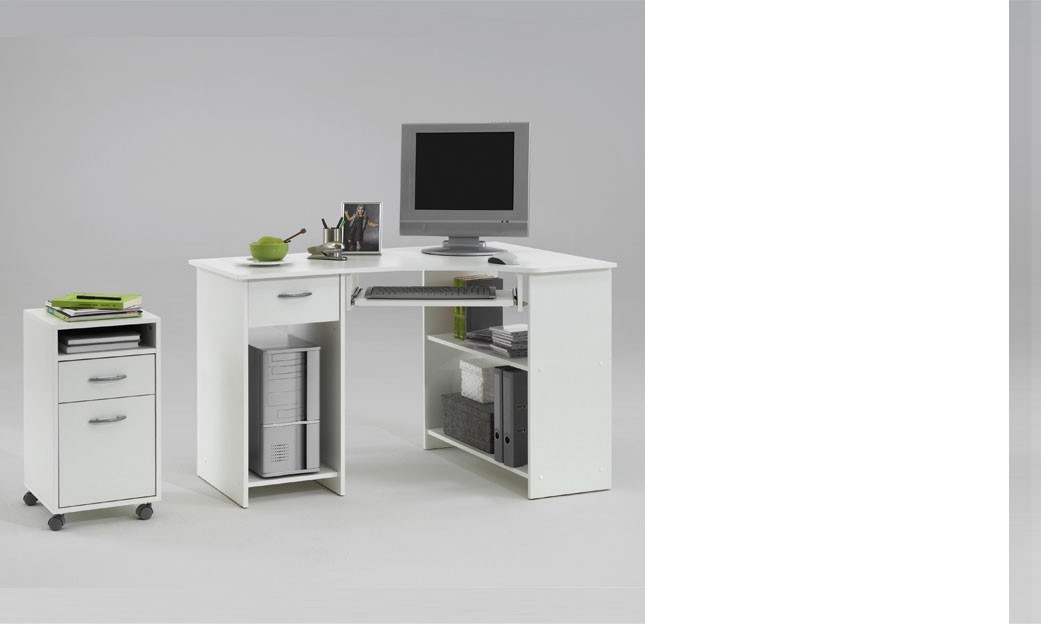 Bureau d 39 angle informatique blanc avec caisson en option agnan for Bureau informatique angle