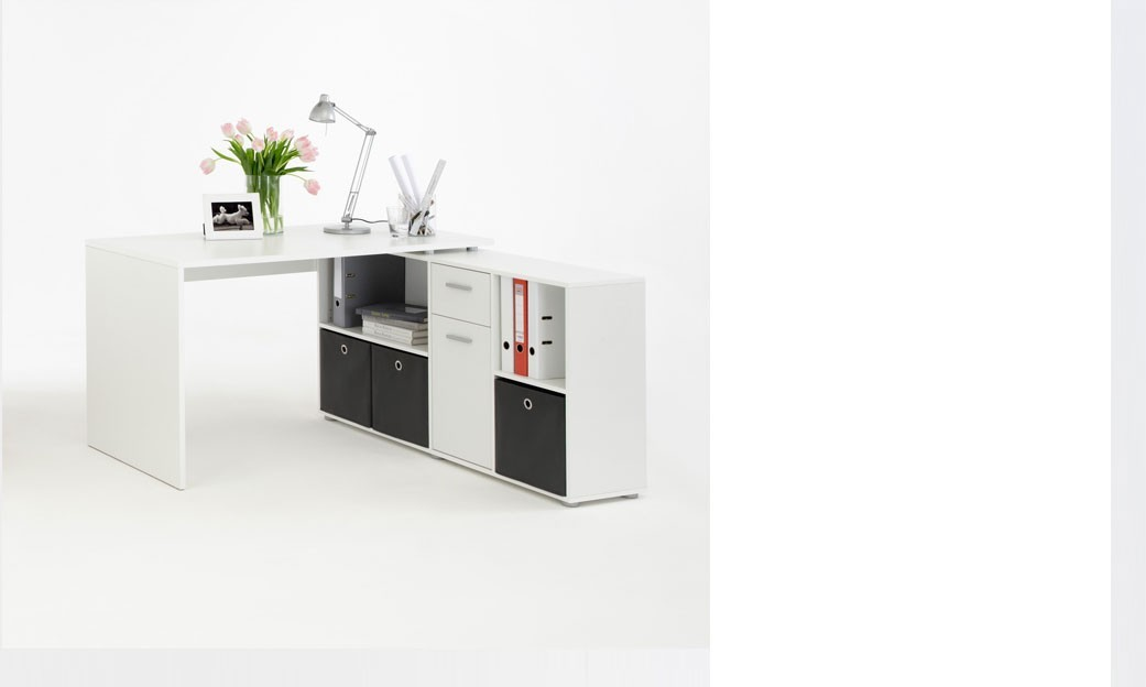 bureau d 39 angle r versible avec rangements blanc turno 2. Black Bedroom Furniture Sets. Home Design Ideas