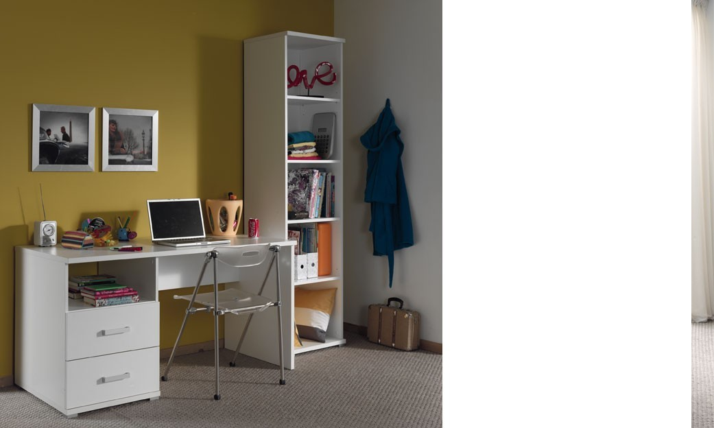 Bureau enfant blanc moderne gregory for Bureau simple blanc
