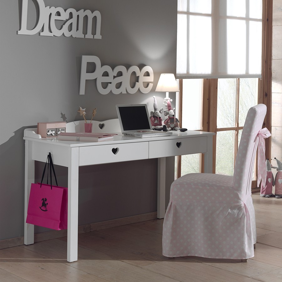 Bureau fille blanc contemporain stella zd1 buro e for Meuble bureau fille