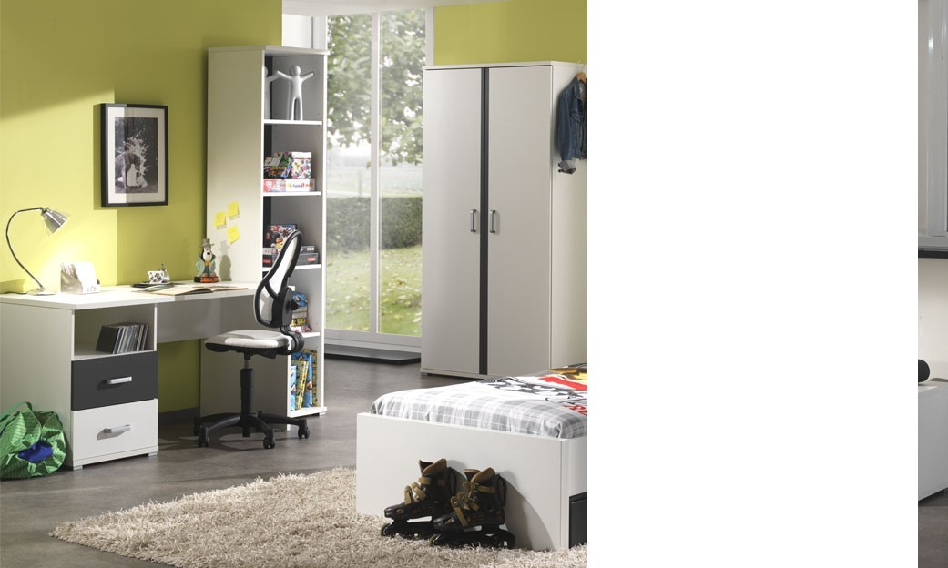 bureau enfant blanc et gris moderne joaquim. Black Bedroom Furniture Sets. Home Design Ideas
