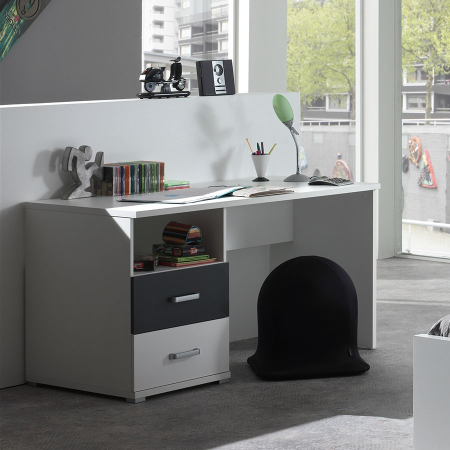 bureau gris et blanc enfant joaquim. Black Bedroom Furniture Sets. Home Design Ideas