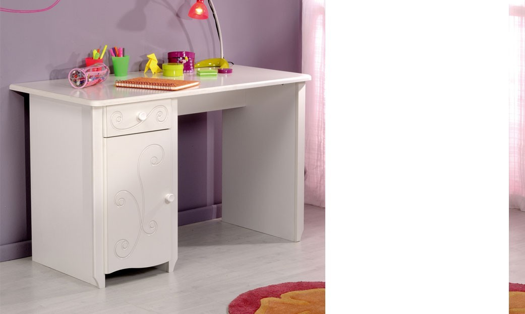 bureau chambre enfant couleur blanc laqu mathilde. Black Bedroom Furniture Sets. Home Design Ideas