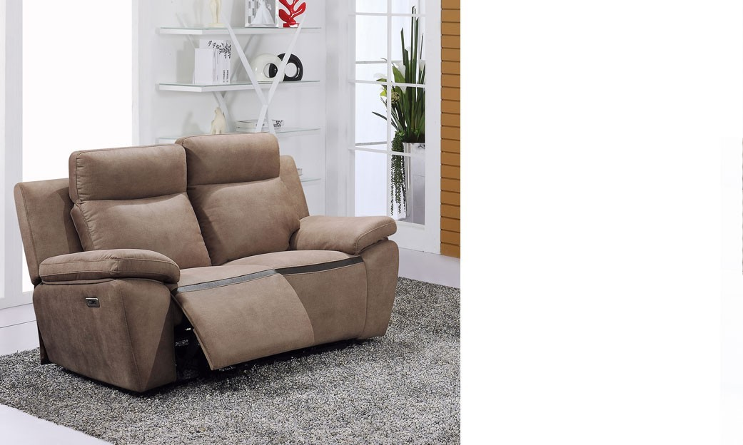 Canap 2 places relax lectrique marron en pu et cuir douglas - Canape 2 places relax ...