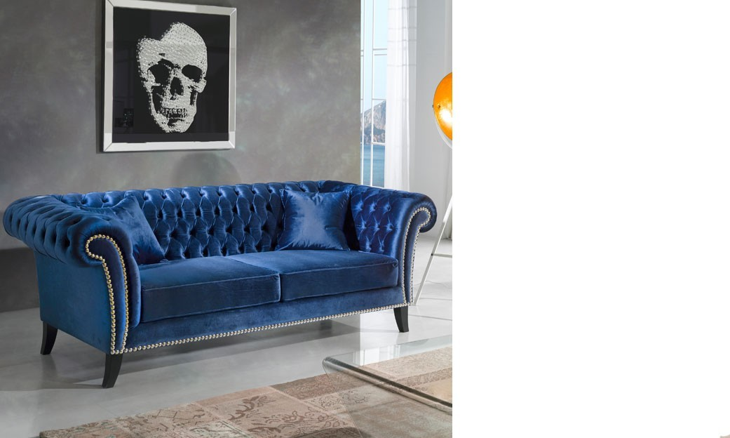 canap 3 places en velours bleu monceau. Black Bedroom Furniture Sets. Home Design Ideas