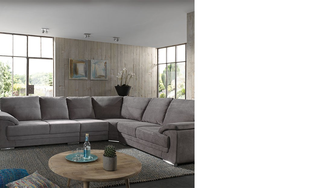 Canape angle gris en tissu H meHome