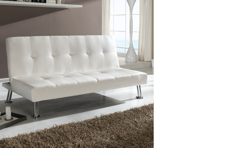 canap banquette blanc design en pu et pieds chrom s argos. Black Bedroom Furniture Sets. Home Design Ideas