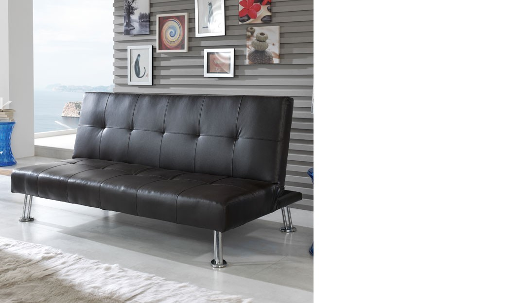canap banquette noir design en pu et pieds chrom s foxi. Black Bedroom Furniture Sets. Home Design Ideas