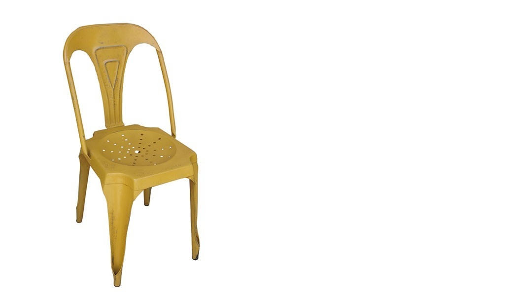Chaise jaune - Chaise style industrielle ...