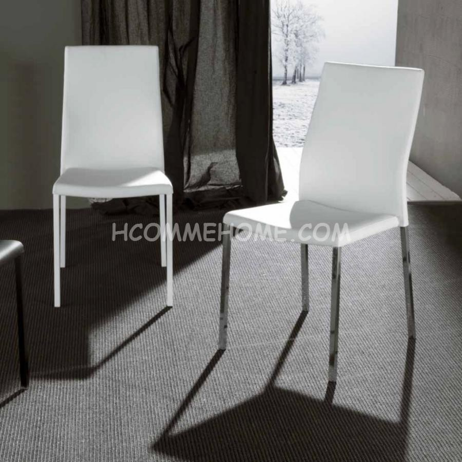Chaise pu blanc noir nelly zd1 c d ec for Chaise salle a manger design