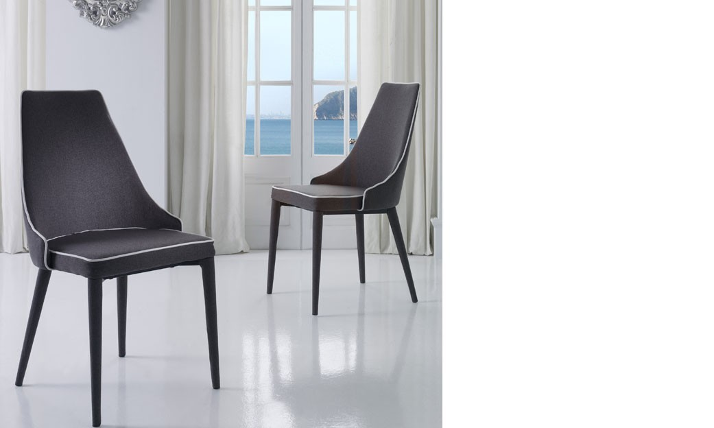 chaise salle a manger grise et blanche design roan lot de 2. Black Bedroom Furniture Sets. Home Design Ideas