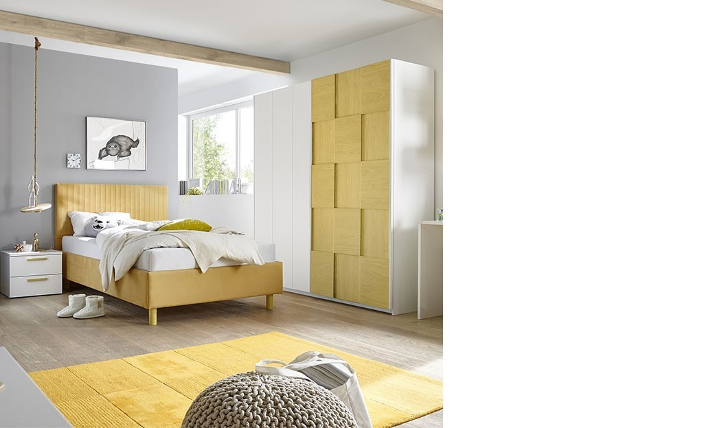 chambre design blanc et jaune adolescent natheo. Black Bedroom Furniture Sets. Home Design Ideas