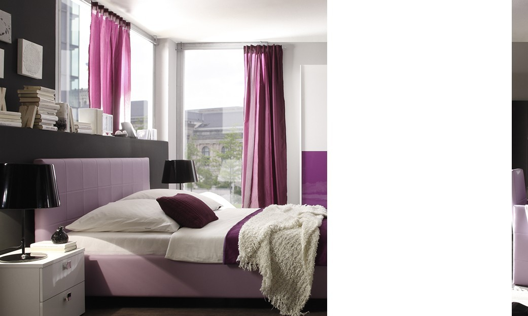 Chambre adulte compl te design lilas coloris blanc for Chambre adulte complete design
