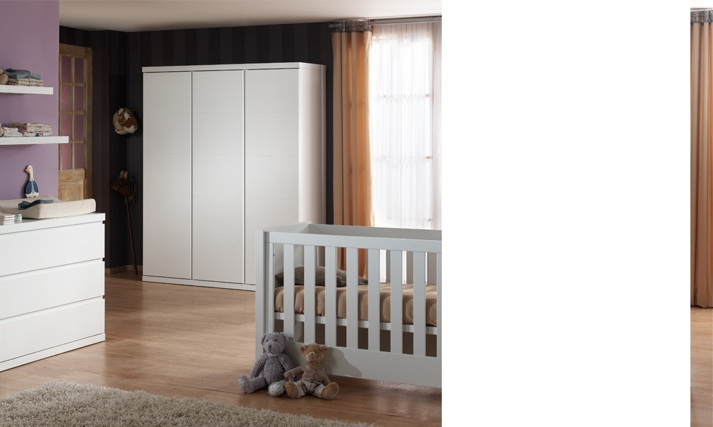 Chambre coucher b b compl te lorene coloris blanc for Chambre a coucher complete 1 personne