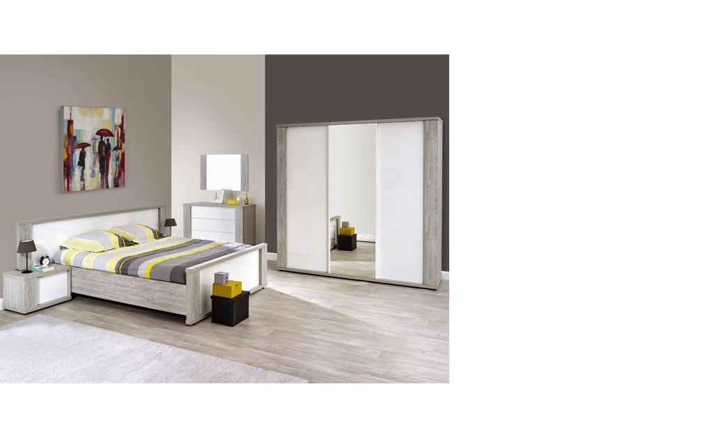 chambre compl te adulte moderne blanc laqu et couleur bois gris florine. Black Bedroom Furniture Sets. Home Design Ideas