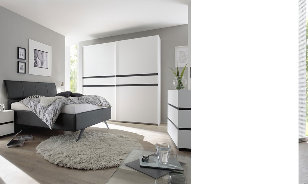 Chambre coucher compl te blanc et anthracite mariela for Chambre complete adulte pas cher moderne