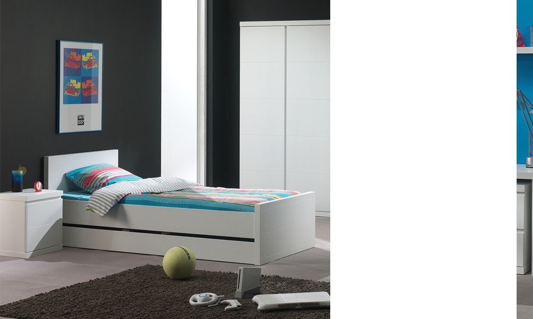 chambre coucher enfant compl te design lorene coloris blanc. Black Bedroom Furniture Sets. Home Design Ideas