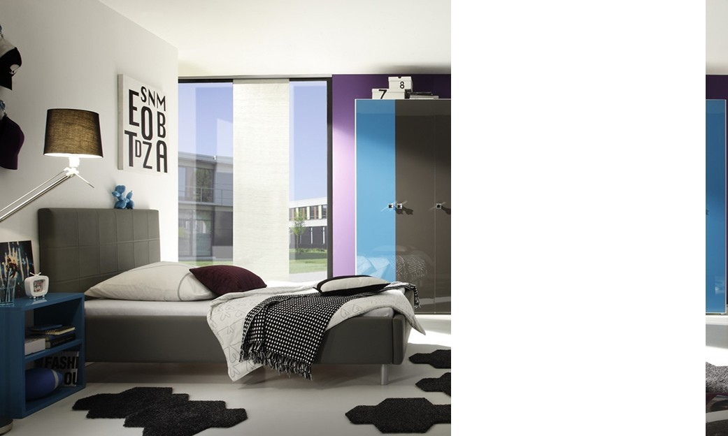 chambre compl te design alicia laqu e turquoise et anthracite. Black Bedroom Furniture Sets. Home Design Ideas