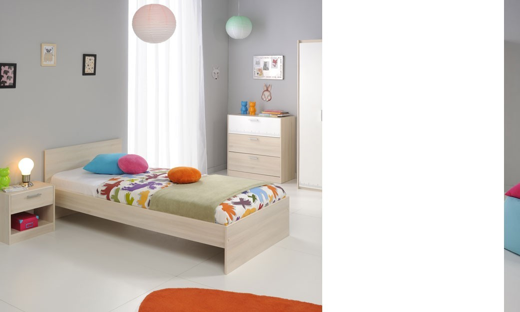 chambre enfant mixte compl te couleur claire acacia chaplin. Black Bedroom Furniture Sets. Home Design Ideas