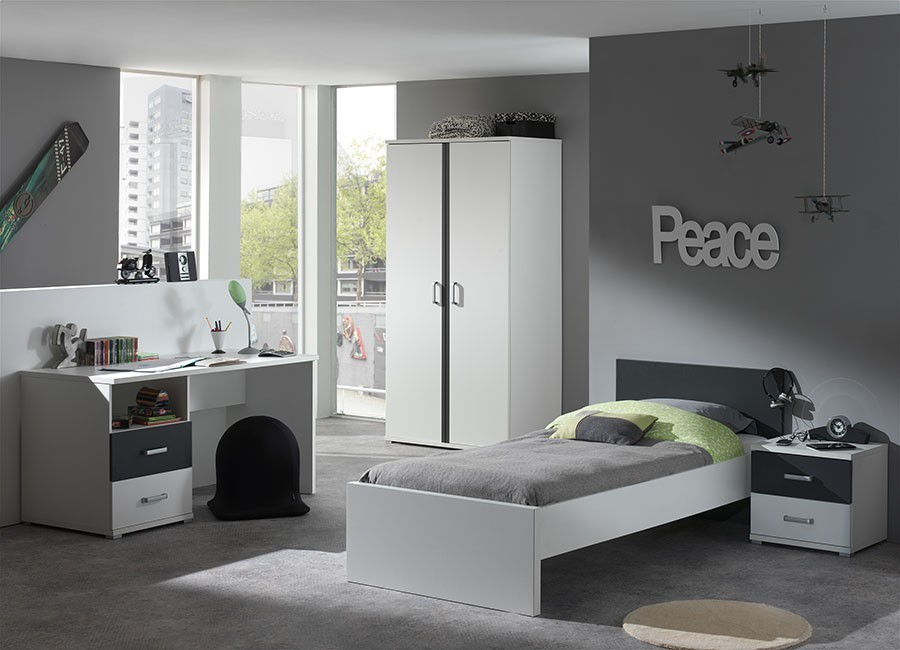 chambre junior gris blanc joaquim. Black Bedroom Furniture Sets. Home Design Ideas