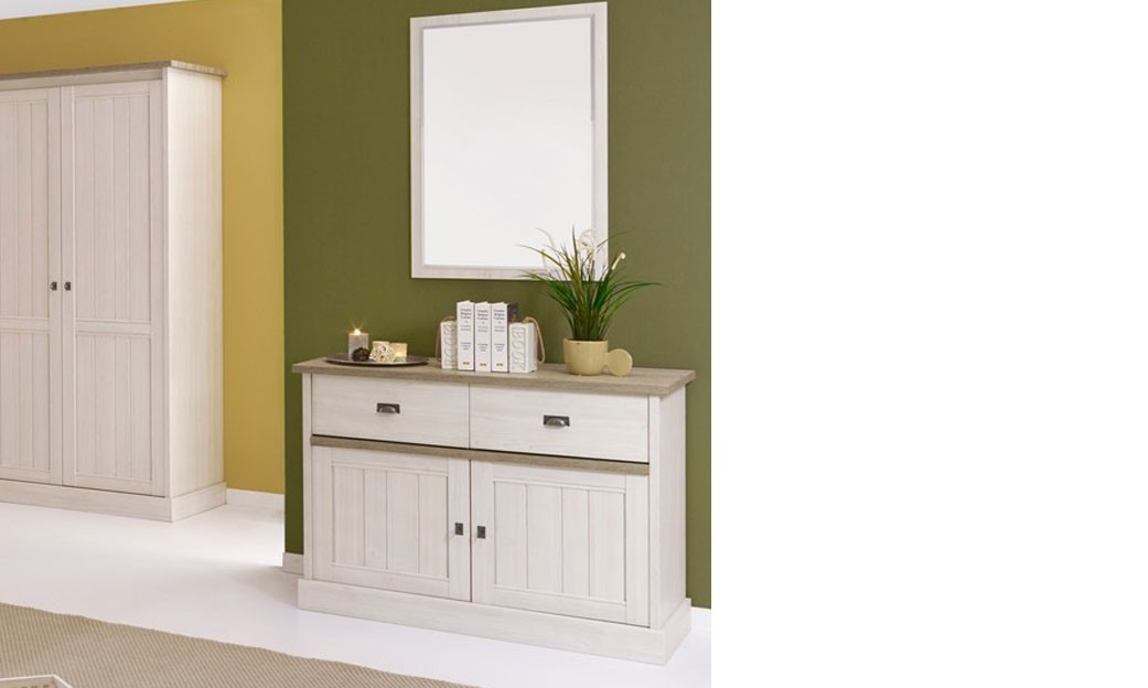 Commode contemporaine couleur chêne blanc JEANNE