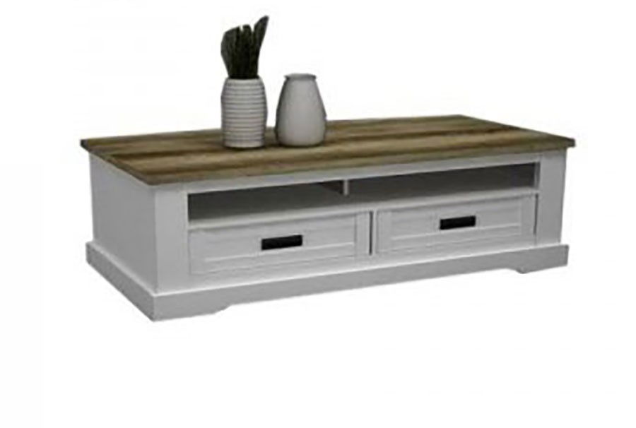 Coventry - Table basse bois blanc ceruse ...