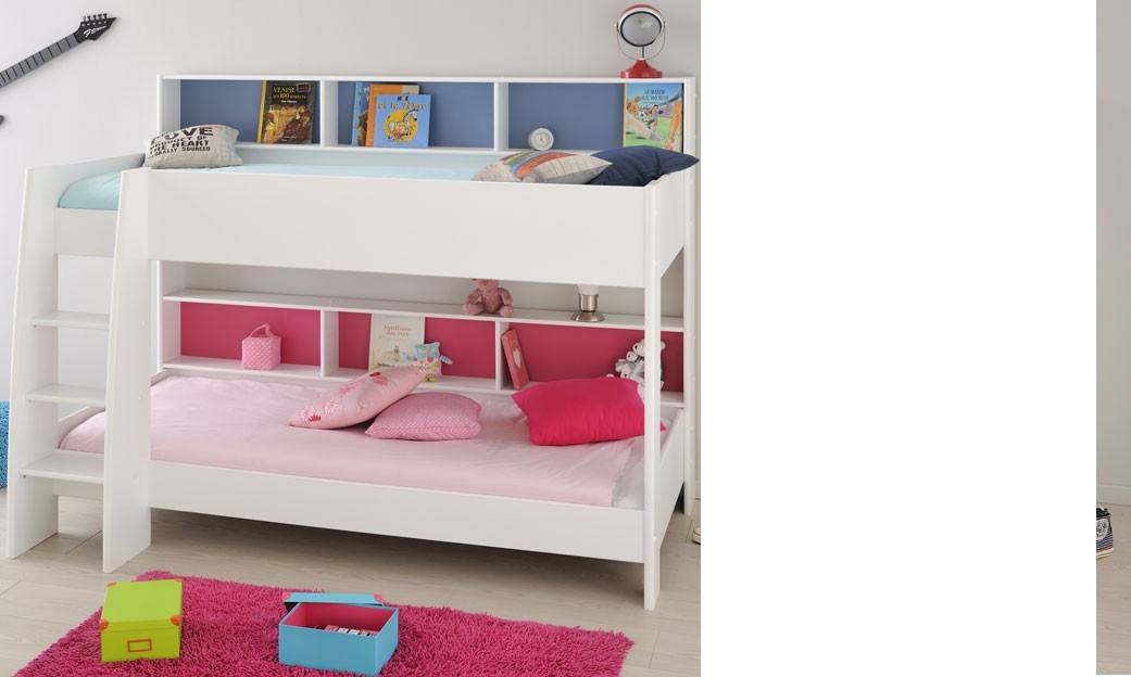 lit superpos enfant design avec sommier couleur blanc dory. Black Bedroom Furniture Sets. Home Design Ideas