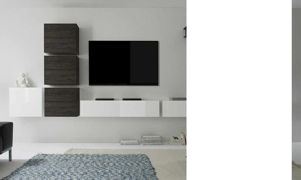 Ensemble TV mural contemporain suspendu LOUDEAC, coloris blanc brillant et wengé