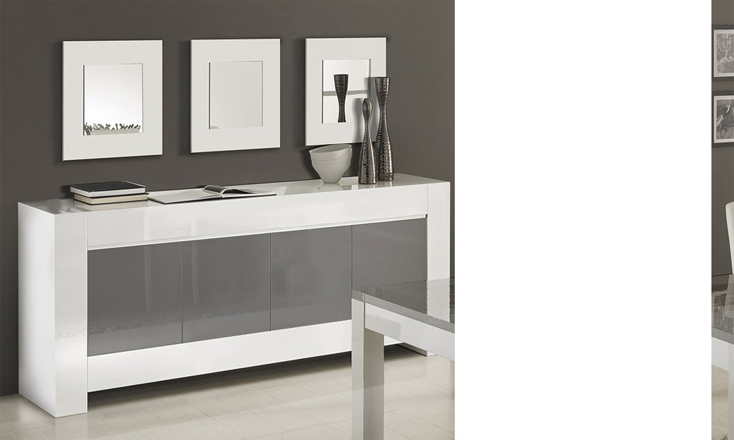 buffet enfilade gris et blanc laqu design totti 2. Black Bedroom Furniture Sets. Home Design Ideas
