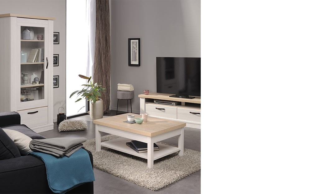 ensemble meuble tv contemporain couleur bois blanc ambroise. Black Bedroom Furniture Sets. Home Design Ideas