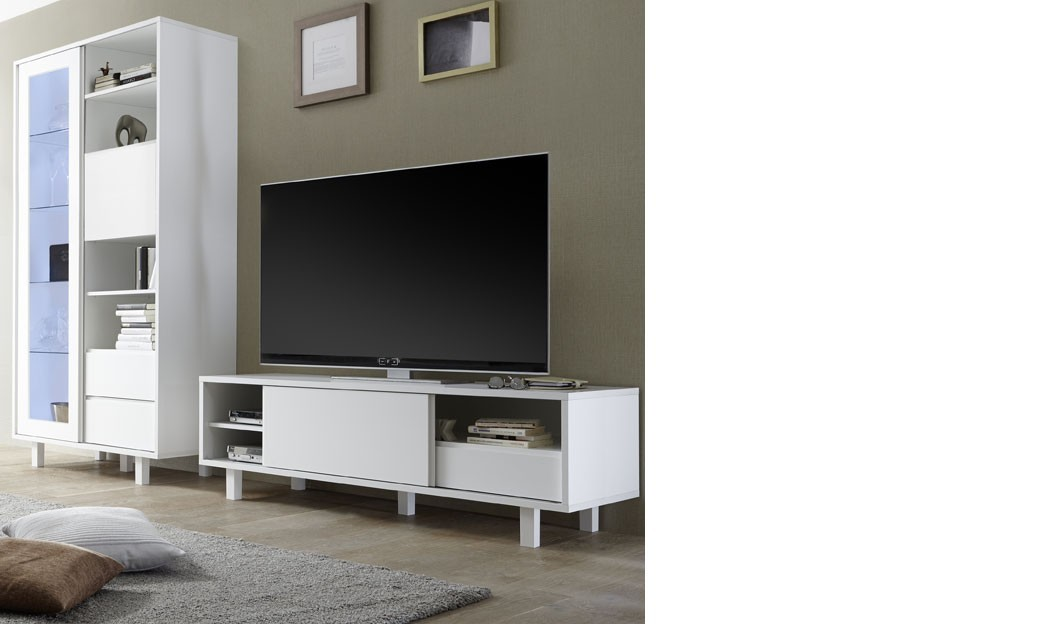 ensemble meuble tv design blanc laqu flavia 2. Black Bedroom Furniture Sets. Home Design Ideas