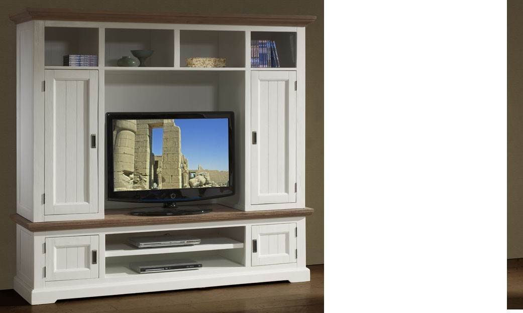 Ensemble meubles tv blanc contemporain en bois massif horus for Ensemble meuble tv blanc