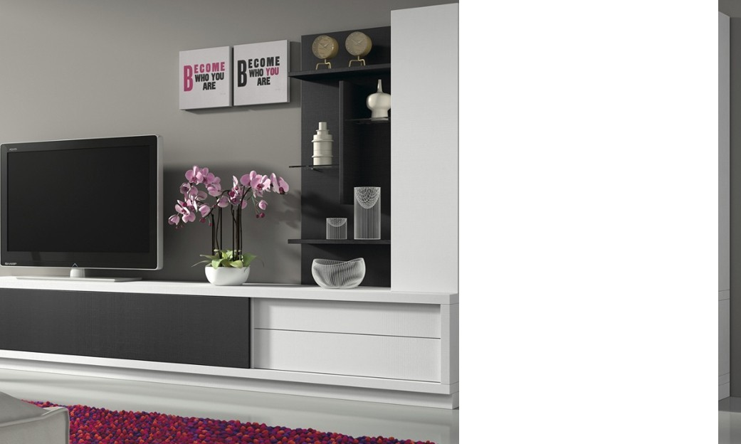 ensemble tv mural kenzo coloris blanc noir banc tv meuble haut tag res. Black Bedroom Furniture Sets. Home Design Ideas