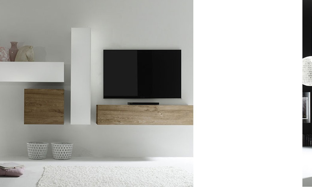 Ensemble tv mural contemporain michele 2 laqu blanc for Meuble tv suspendu bois