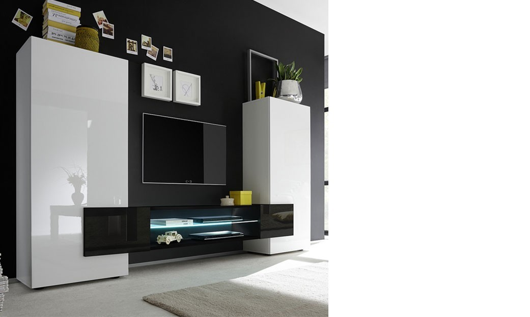ensemble meuble tv design laqu blanc et noir trivia 3. Black Bedroom Furniture Sets. Home Design Ideas