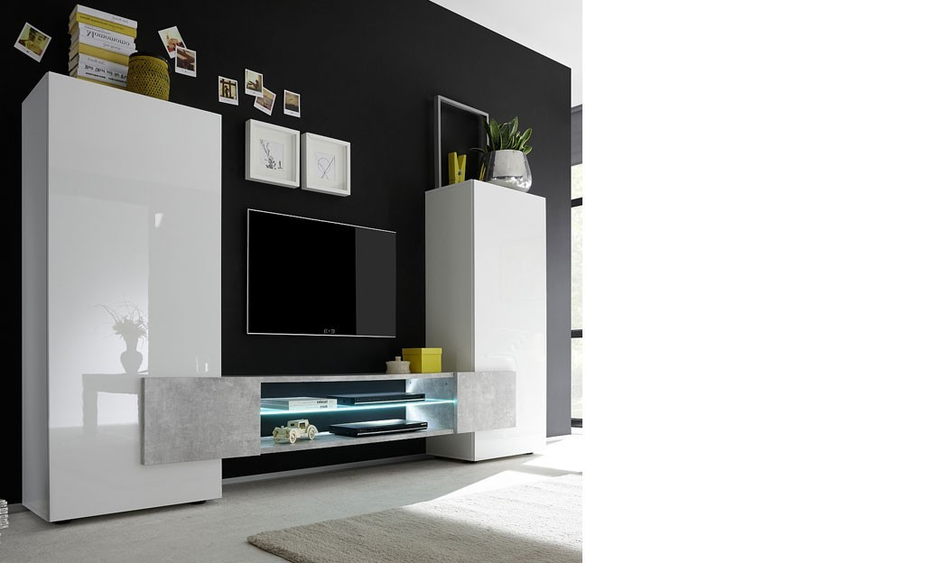 ensemble meuble tv moderne laqu blanc et effet b ton trivia. Black Bedroom Furniture Sets. Home Design Ideas