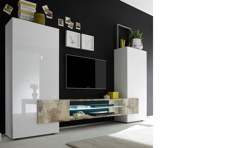 ensemble meuble tv moderne laqu blanc et effet bois trivia 2. Black Bedroom Furniture Sets. Home Design Ideas