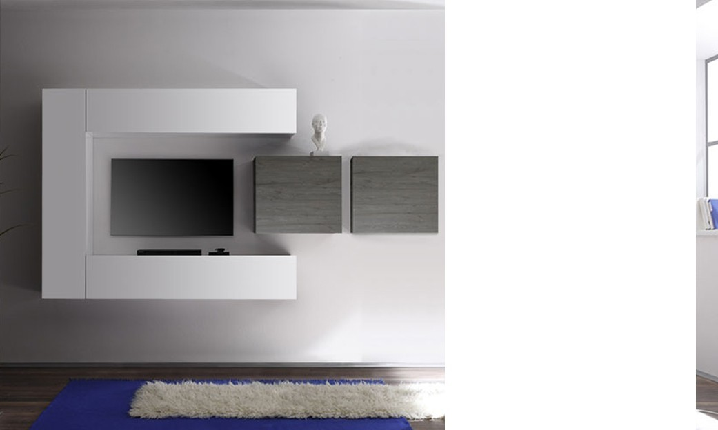 Ensemble tv mural design nina 2 laqu blanc brillant bois gris - Ensemble mural design ...