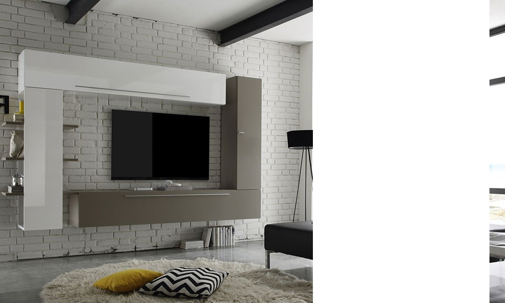 ensemble tv mural design laqu blanc et taupe brooke. Black Bedroom Furniture Sets. Home Design Ideas
