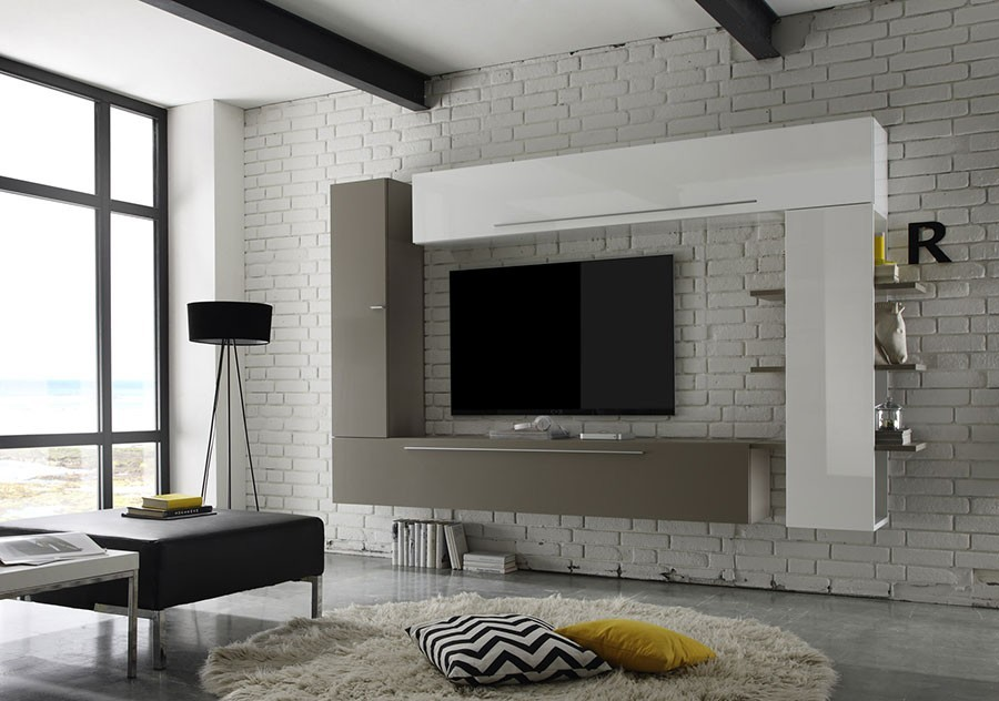ensemble tv mural blanc taupe brooke zd1 ens m d. Black Bedroom Furniture Sets. Home Design Ideas