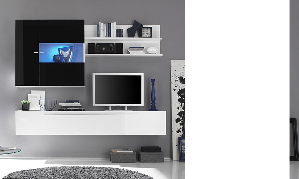 Ensemble TV mural design PABLO9, disponible en 2 coloris