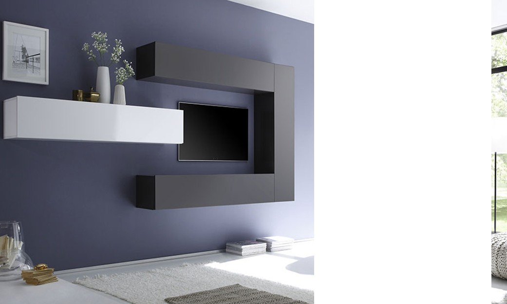 Ensemble tv mural design laqu gris fonc et blanc for Meuble mural laque brillant design