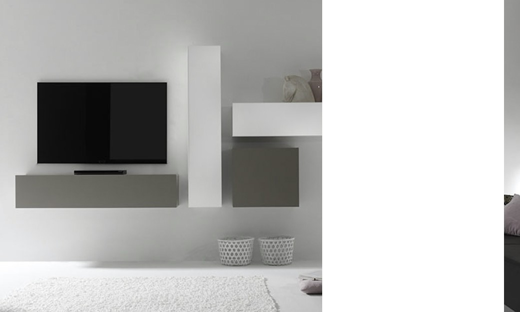 Ensemble tv mural design laqu gris mat et blanc brillant for Meuble tv mural 240 cm blanc gris adhara