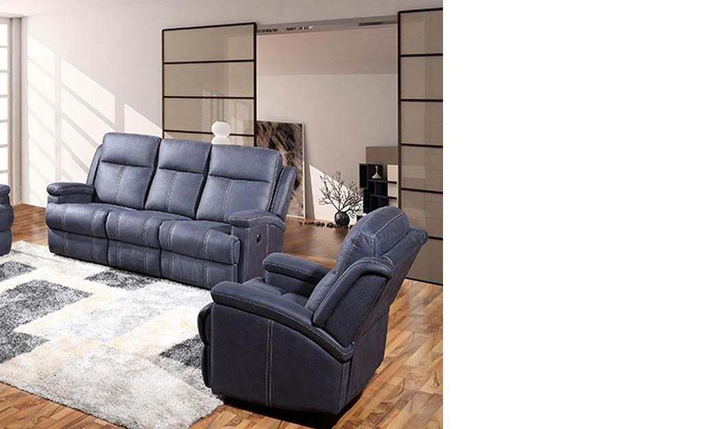 fauteuil relax lectrique en tissu bleu pomelo. Black Bedroom Furniture Sets. Home Design Ideas