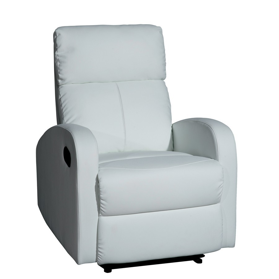 fauteuil relax manuel en pu blanc dakota zd1 f m ec. Black Bedroom Furniture Sets. Home Design Ideas
