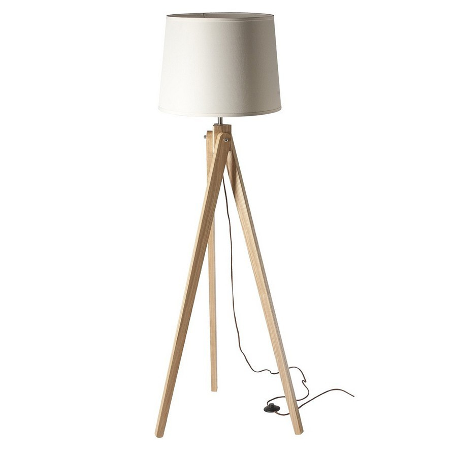 lampadaire avec pied en bois miela zd1 lamp d. Black Bedroom Furniture Sets. Home Design Ideas