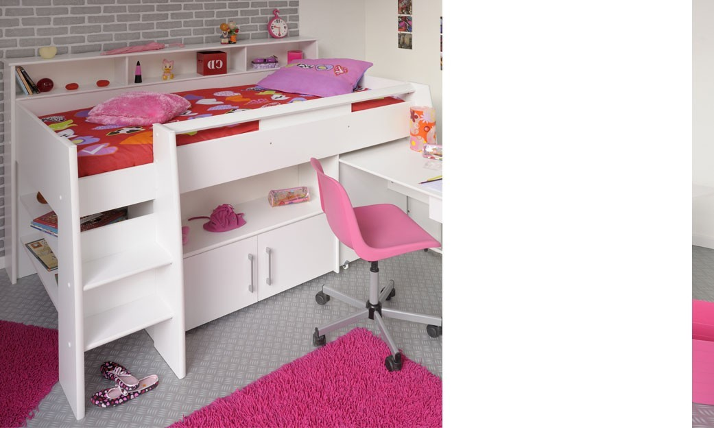 lit combin sur lev enfant ado couleur blanc claudia. Black Bedroom Furniture Sets. Home Design Ideas