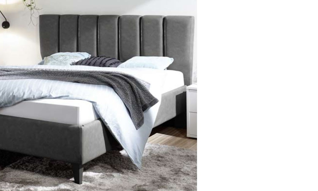lit adulte design gris en pu avec option coffre. Black Bedroom Furniture Sets. Home Design Ideas