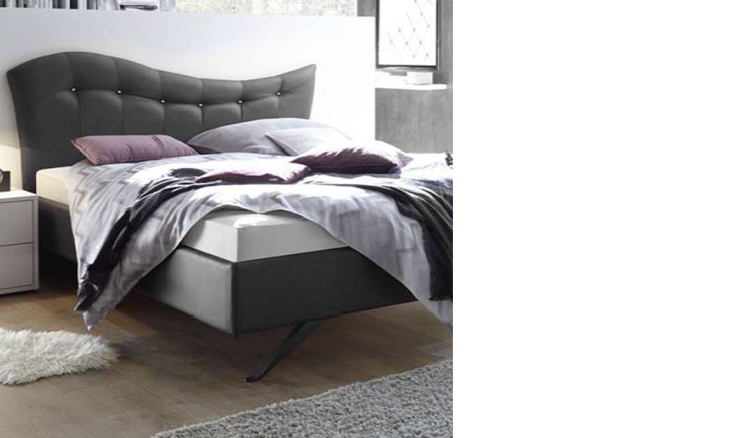 lit adulte design gris en pu. Black Bedroom Furniture Sets. Home Design Ideas