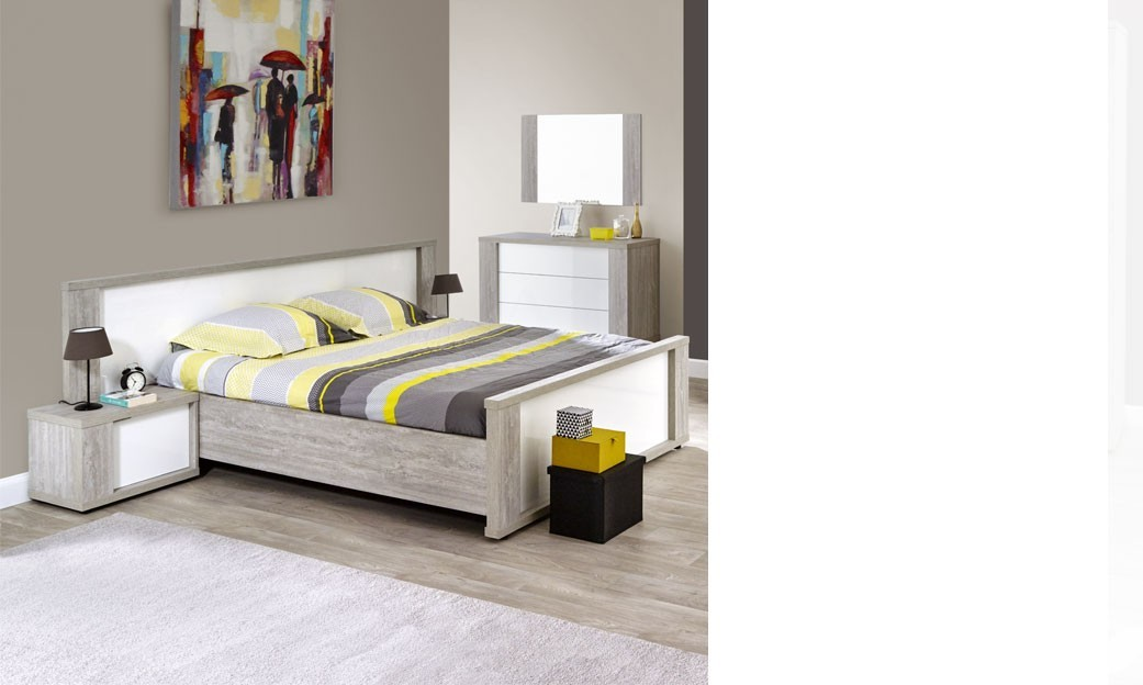 lit adulte moderne blanc laqu et couleur bois gris florine plusieurs dimensions. Black Bedroom Furniture Sets. Home Design Ideas